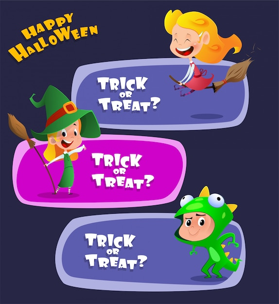 Set van schattige kinderen dragen halloween-kostuums Premium Vector