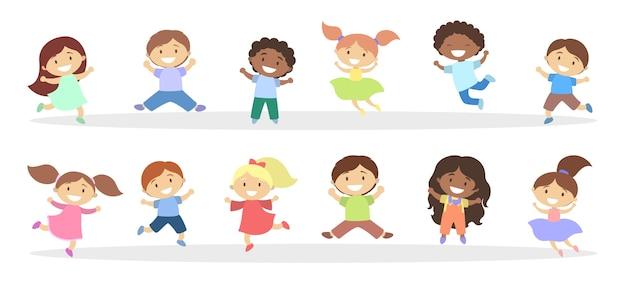 Set van schattige kleine kinderen springen Premium Vector