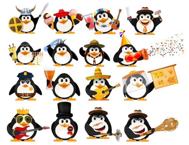 Set van schattige kleine pinguïns. jonge pinguïns van verschillende beroepen met objecten Premium Vector