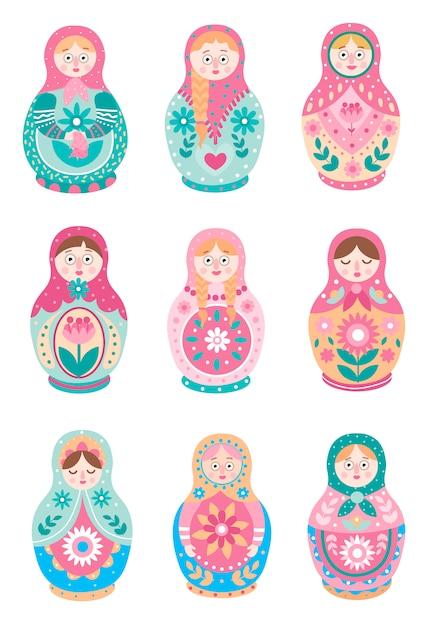 Set van schattige kleurrijke russische traditionele broedende pop Premium Vector