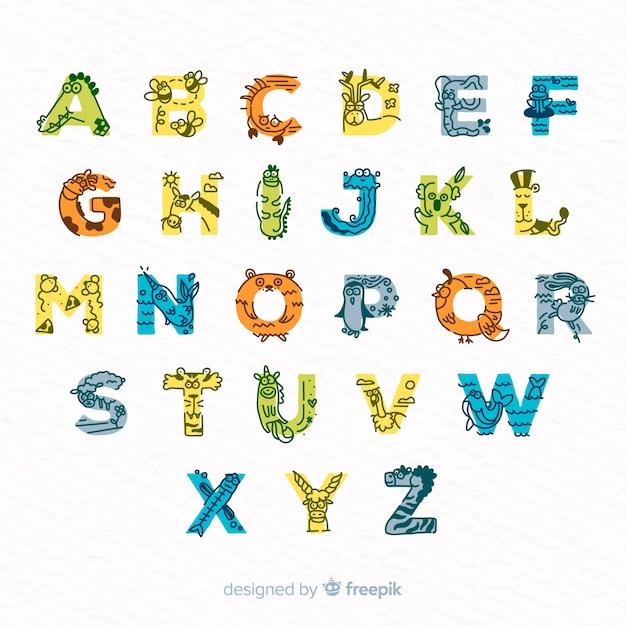 Set van schattige letters gemaakt van schattige dieren Gratis Vector