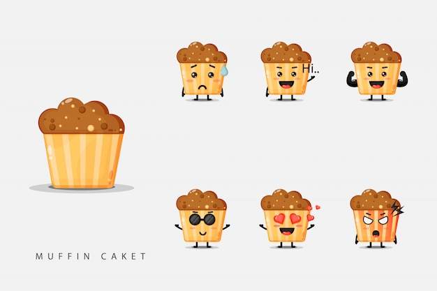 Set van schattige mascotte muffins Premium Vector