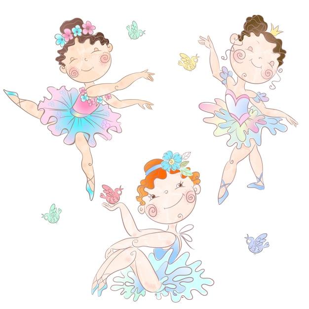Set van schattige meisjes ballerina's Premium Vector