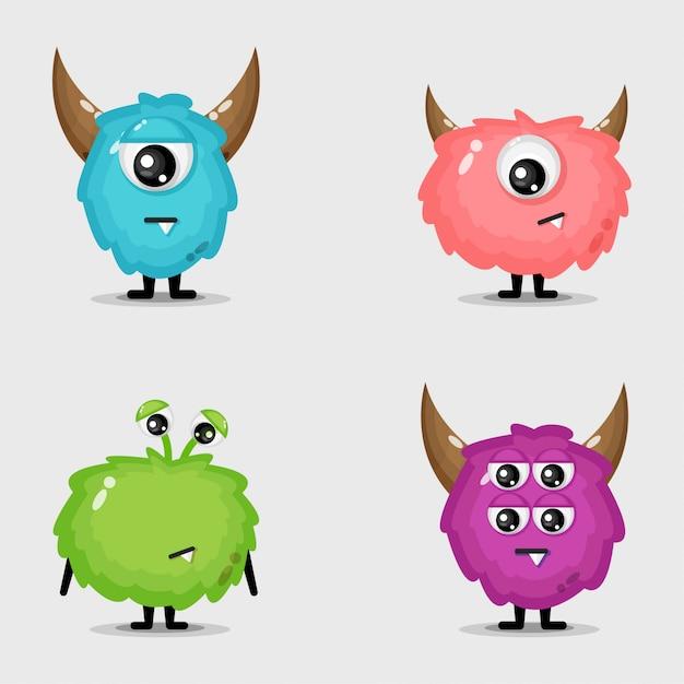 Set van schattige monsters ontwerp Premium Vector
