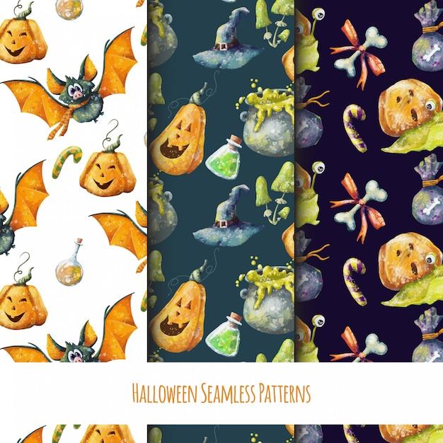 Set van schattige naadloze halloween-patronen Premium Vector