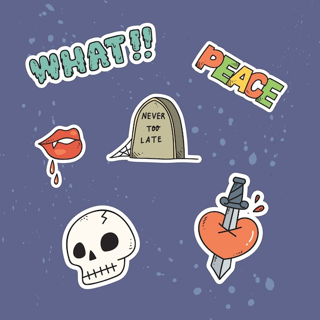 Set van schattige patches of sticker Premium Vector