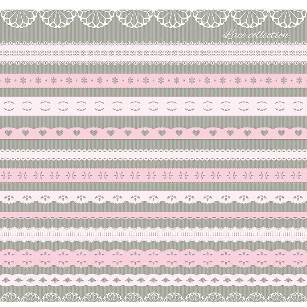 Set van schattige rechte kant in pastel roze Premium Vector