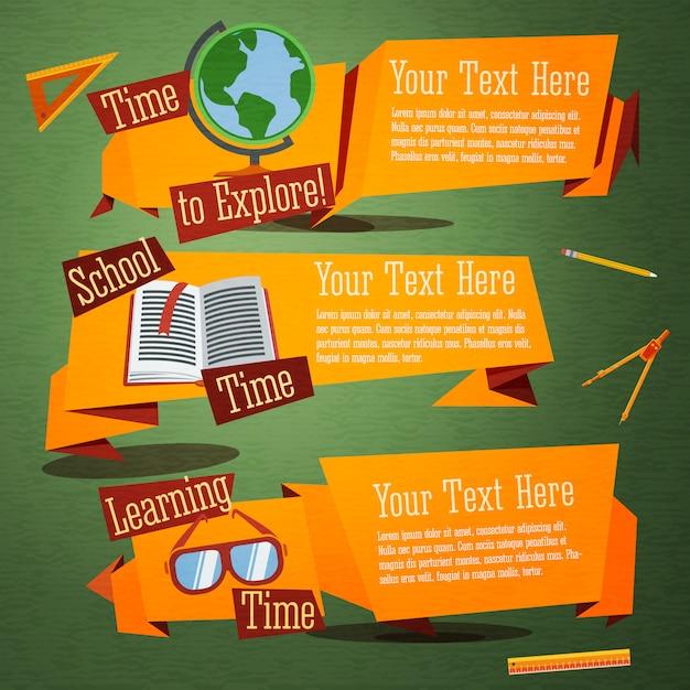 Set van schattige terug naar school banners met globe, leerboek, glazen. Premium Vector