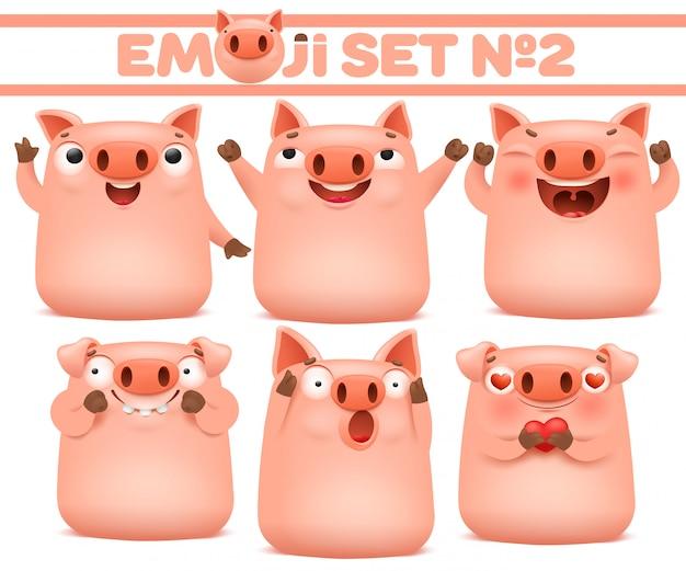 Set van schattige varken emoji stripfiguren in verschillende emoties. vector illustratie Premium Vector
