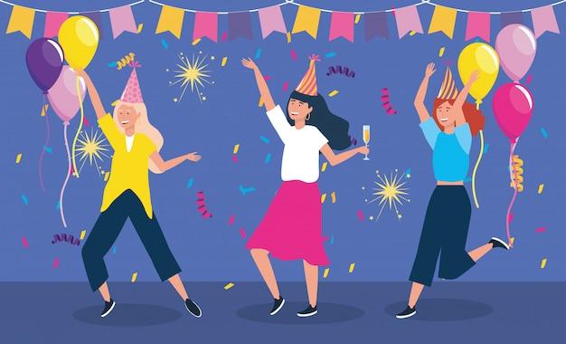 Set van schattige vrouwen dansen met feestmuts Gratis Vector