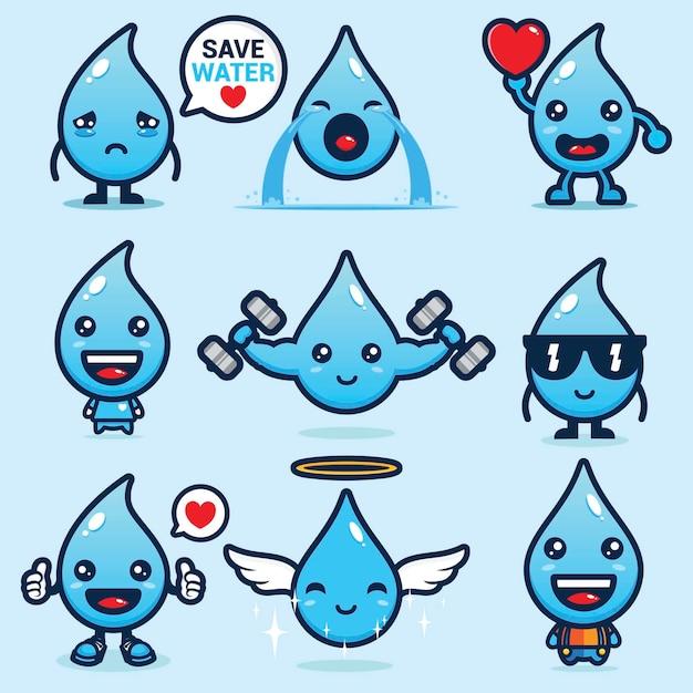 Set van schattige water mascotte vector ontwerpen Premium Vector