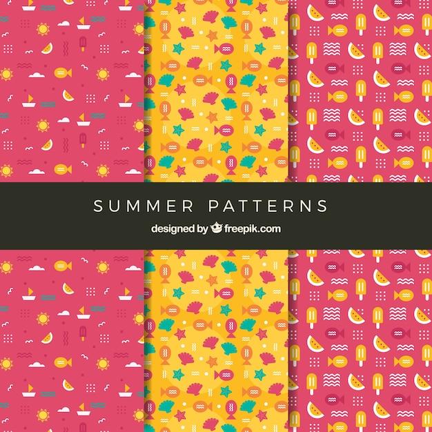 Set van schattige zomerpatronen in plat ontwerp Gratis Vector