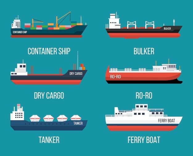 Set van schepen in moderne vlakke stijl. levering van hoge kwaliteit en scheepvaart boten illustratie Premium Vector