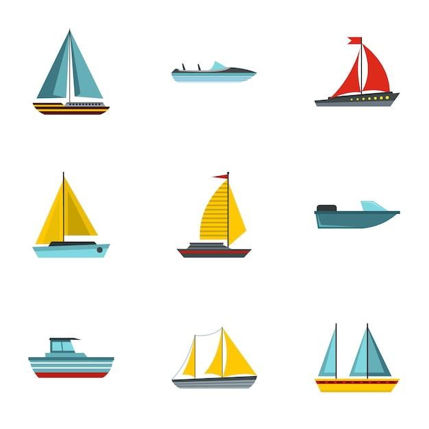Set van schepen, vlakke stijl Premium Vector