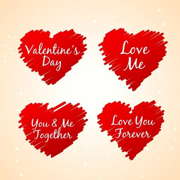 Set van schetsmatige rode harten Gratis Vector