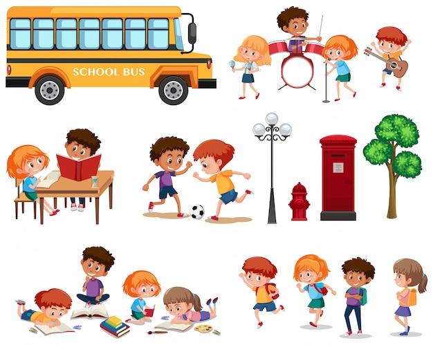 Set van schoolkinderen geïsoleerd Premium Vector