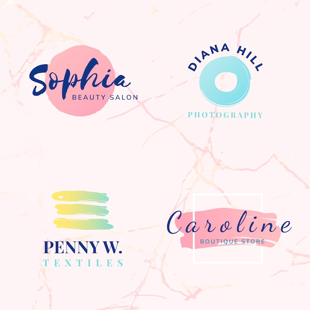 Set van schoonheid en mode logo ontwerp vectoren Gratis Vector