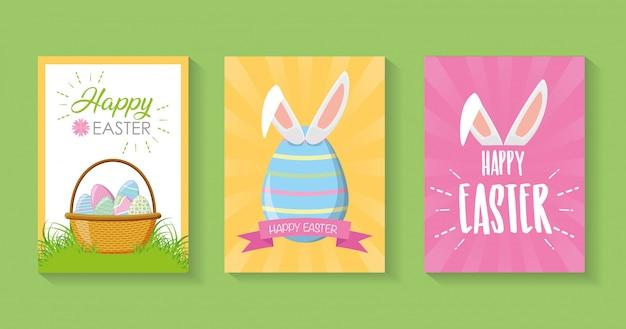 Set van schoonheid paaskaarten, happy paaskaart Gratis Vector