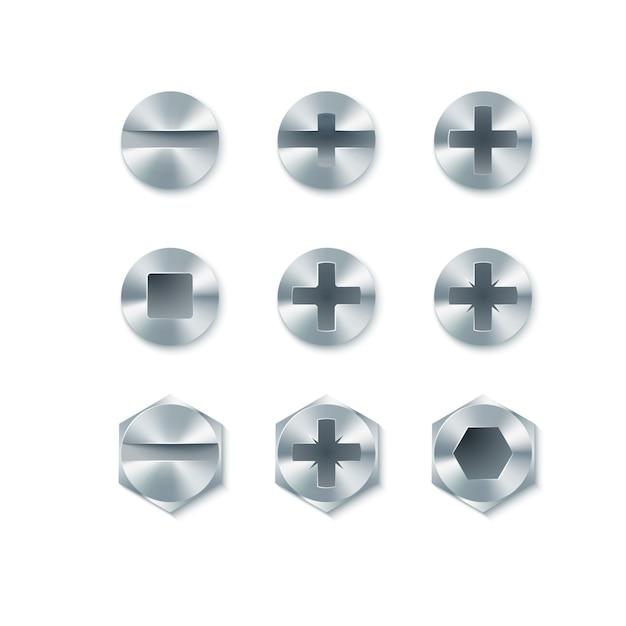 Set van schroeven en bouten, spijkers geïsoleerd op een witte achtergrond. illustratie Premium Vector
