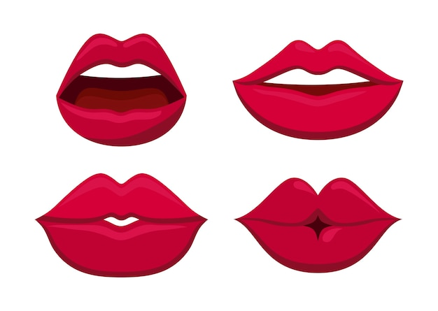 Set van sensualiteit vrouwelijke lippen pictogram Gratis Vector