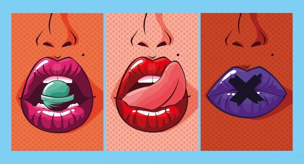 Set van sexy vrouw mond pop-art stijl Premium Vector