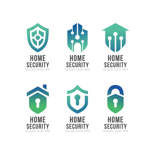 Set van shield smart home security-logo Premium Vector