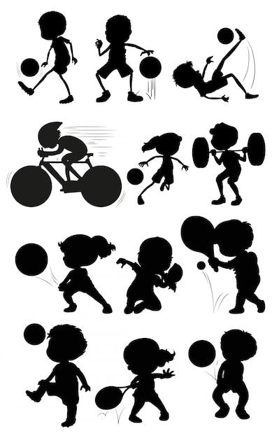 Set van silhouet atleet karakter Gratis Vector