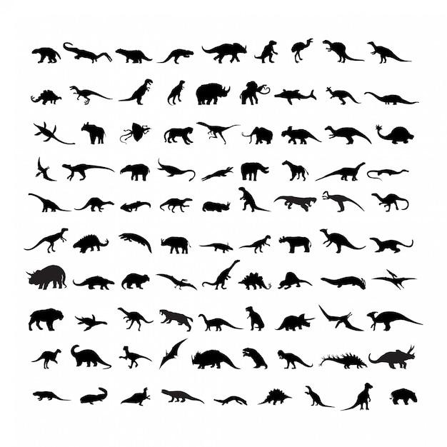 Set van silhouetten van dinosaurussen Premium Vector