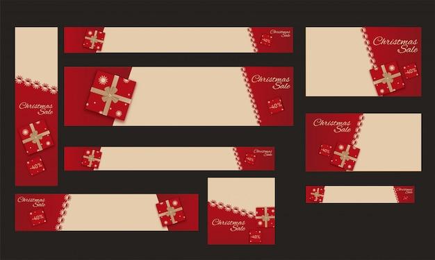 Set van sjabloon, poster of spandoekontwerp met 40% kortingsaanbieding Premium Vector