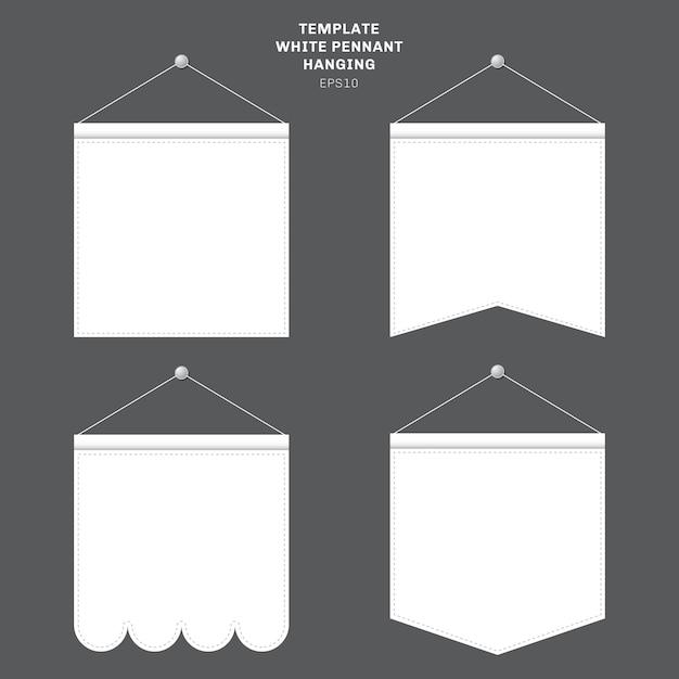 Set van sjabloon witte wimpel opknoping op een muur. Premium Vector