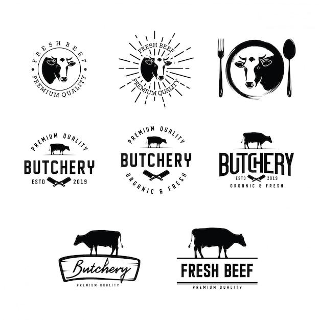 Set van slagerij logo Premium Vector