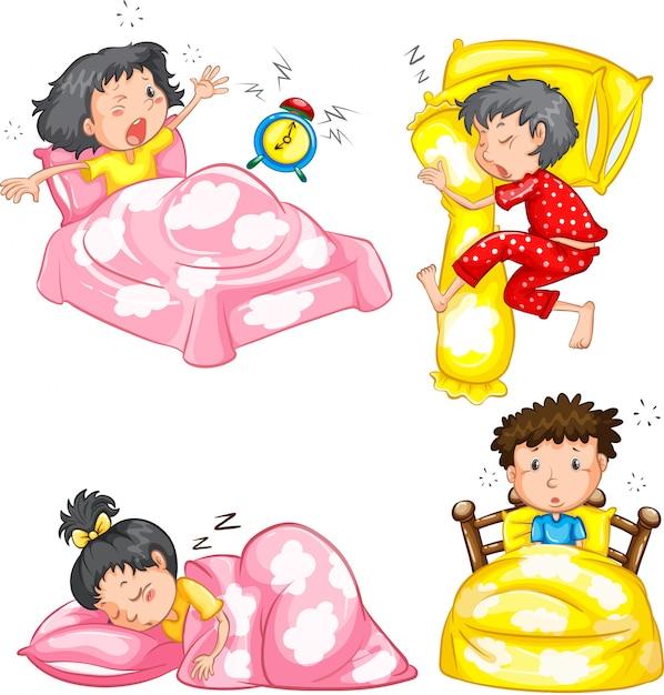 Set van slapende kinderen Gratis Vector