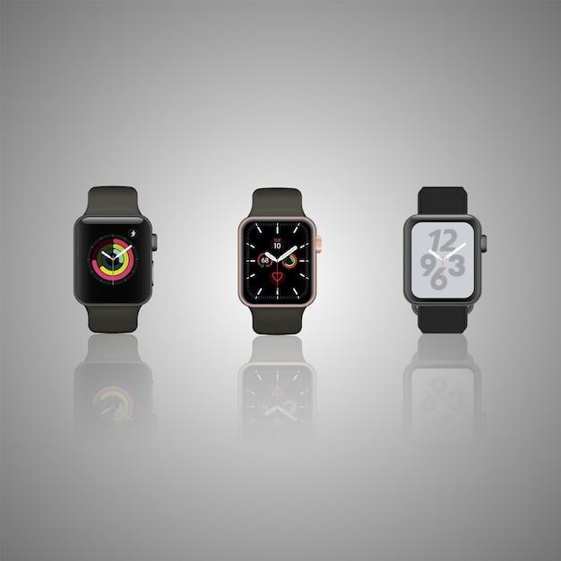 Set van slimme horloge geïsoleerd op grijs. gedetailleerde smartwatch weerspiegeld op grijs oppervlak. slimme iwatch met scherm. roestvrij slimme wijzerplaat eps. Premium Vector