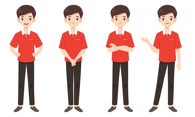 Set van slimme man in rood shirt Premium Vector