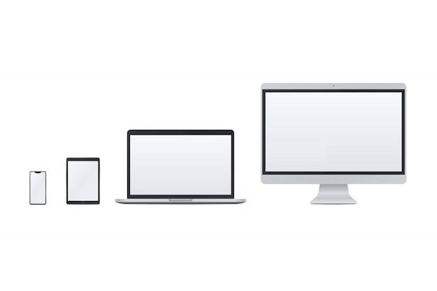 Set van slimme telefoon, tablet pc, laptop, desktop pc Premium Vector