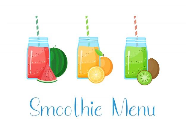 Set van smoothies Premium Vector