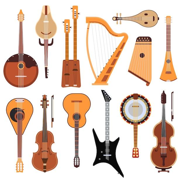 Set van snaarinstrumenten klassiek instrument voor orkestkunst geluid en akoestische symfonie geregen viool houten apparatuur Premium Vector