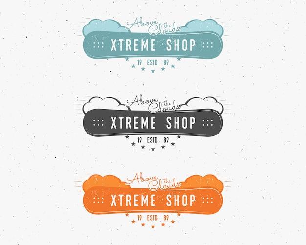 Set van snowboarding extreme winkel-logo, labelsjablonen winter snowboard sport winkel badge. Premium Vector