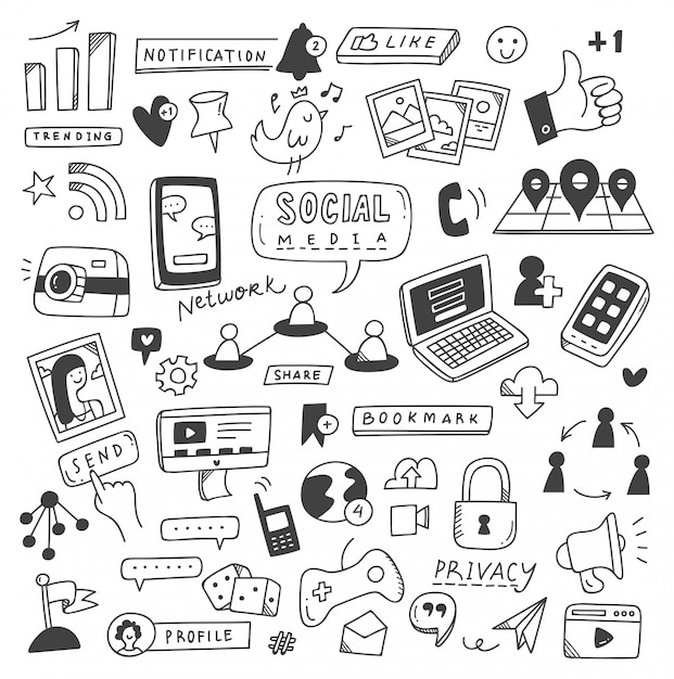 Set van sociale media doodles Premium Vector