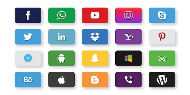 Set van sociale media iconen Gratis Vector