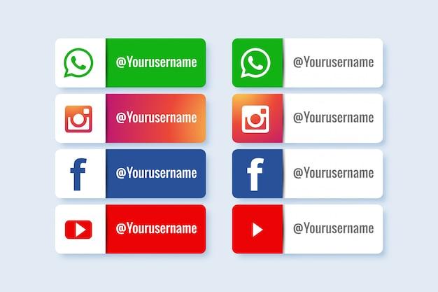 Set van sociale media onderste derde pictogram Gratis Vector