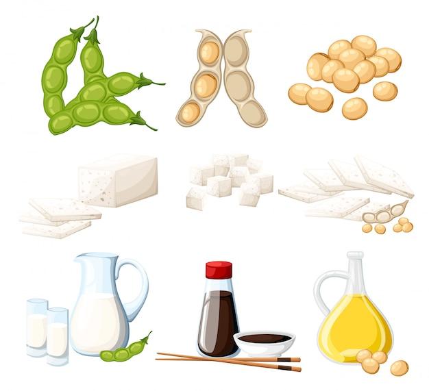 Set van sojaproducten melk en olie in glazen kruik sojasaus in transparante fles tofu en bonen biologisch vegetarisch voedsel illustratie op witte achtergrond website-pagina en mobiele app Premium Vector