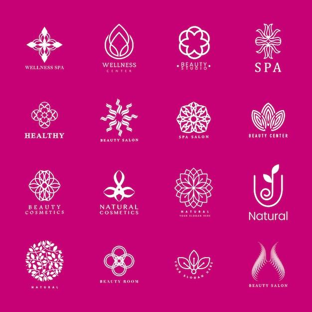 Set van spa en schoonheid logo vector Gratis Vector