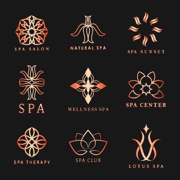 Set van spa-logo Gratis Vector