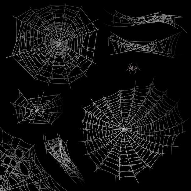Set van spinnenweb Premium Vector