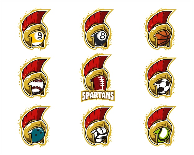 Set van sport bal spartaans team logo Premium Vector