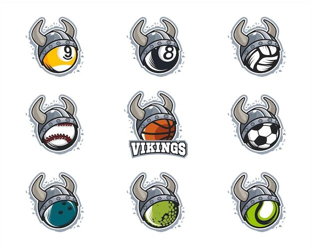 Set van sport bal viking team logo Premium Vector