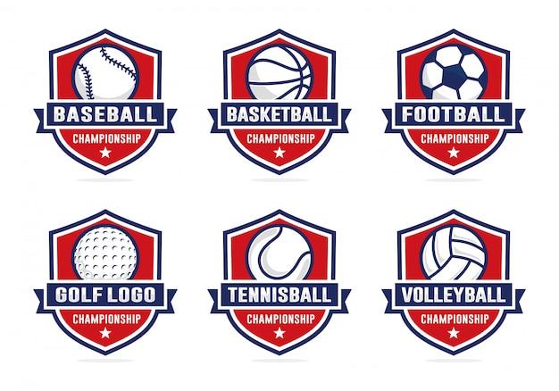 Set van sport team logo sjabloon Premium Vector