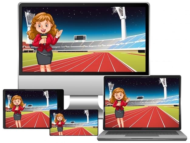 Set van sportnieuws op verschillende elektronische gadgetschermen Gratis Vector