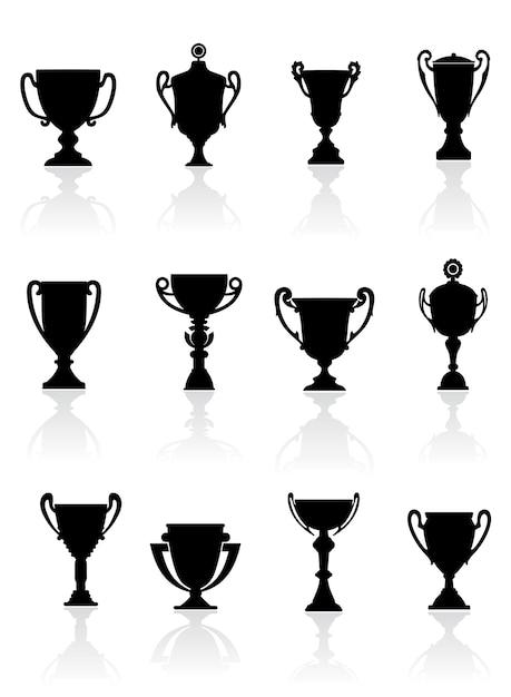 Set van sporttrofeeën Premium Vector